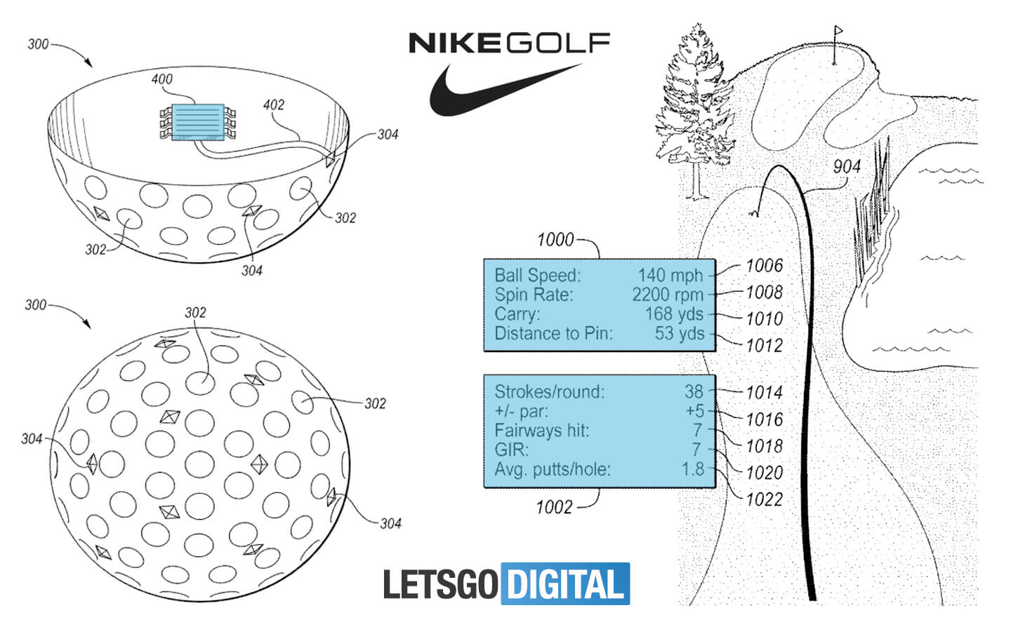 9b694444a4 Nike heads up display with tracking system for golf ball