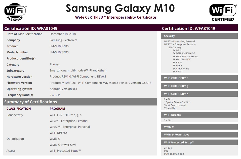 Galaxy M10 smartphone