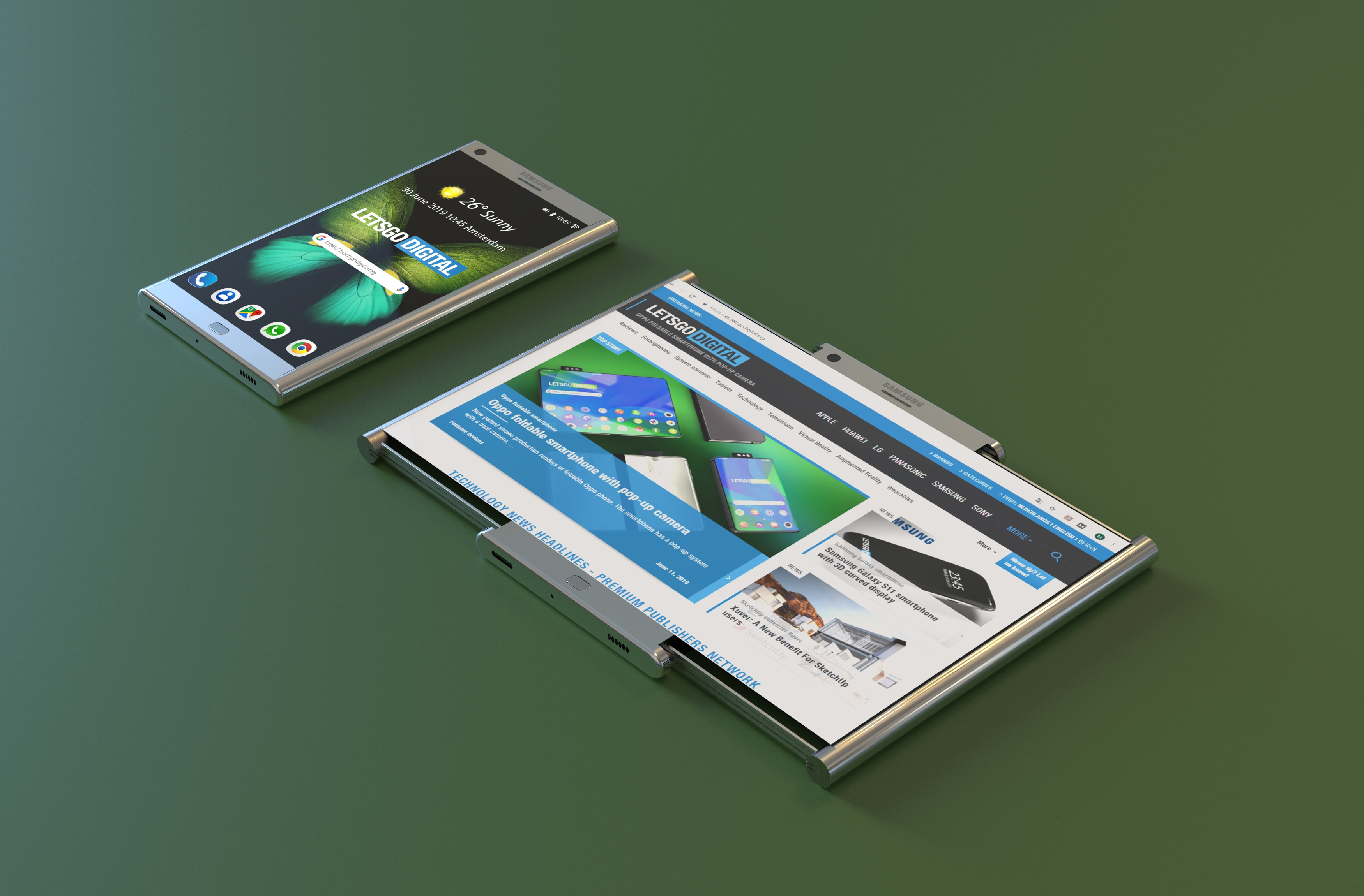 Samsung Galaxy smartphone with pull out display   LetsGoDigital