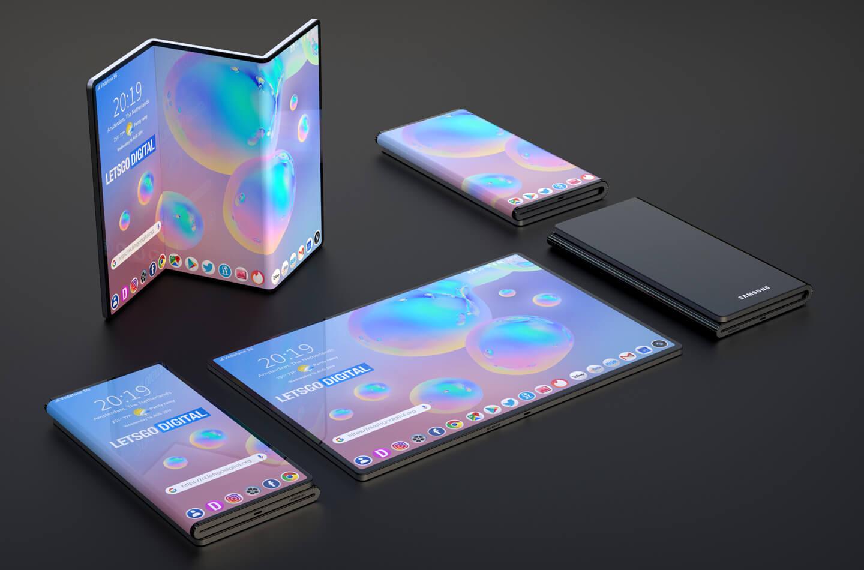 Samsung Galaxy foldable phone with Z-Fold design  LetsGoDigital