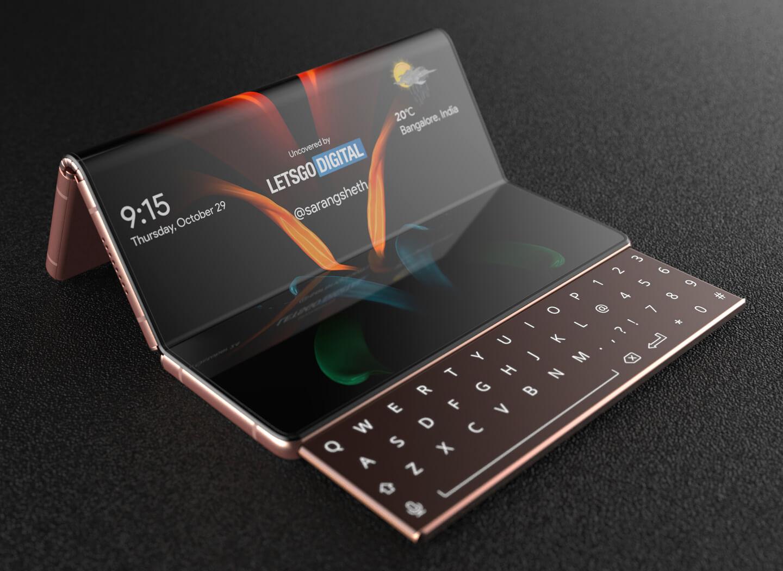 Samsung foldable smartphone sliding keyboard